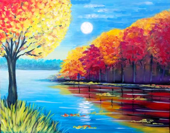 A Fall Evening Lake paint nite project by Yaymaker