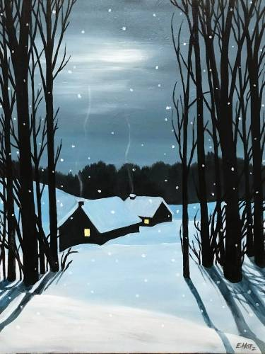 A A Cold Winters Night paint nite project by Yaymaker