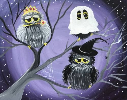 A Owloween Night paint nite project by Yaymaker