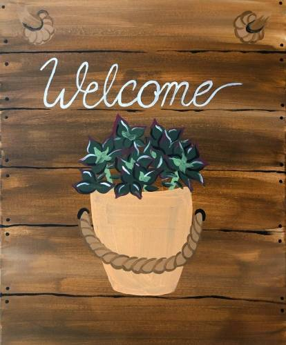 A Welcome Plant Wall Accent paint nite project by Yaymaker