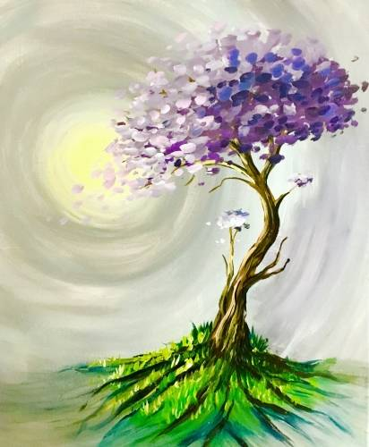 A Rooted Purple Tree paint nite project by Yaymaker