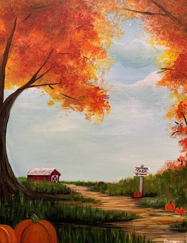 A Pumpkin Farm paint nite project by Yaymaker