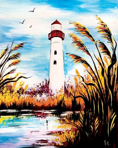A Lighthouse in Fall paint nite project by Yaymaker