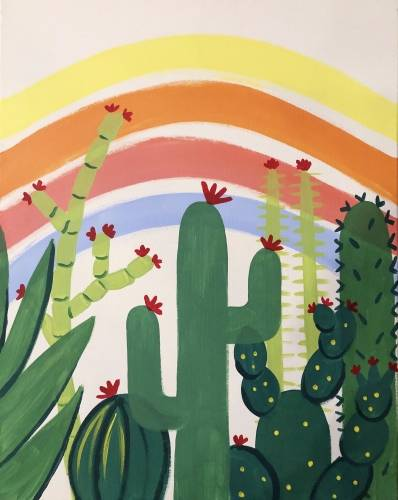 A Pastel Cactus paint nite project by Yaymaker