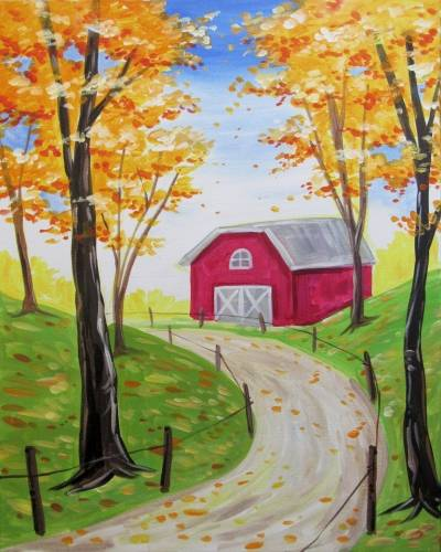 A Countryside Red Barn In Fall paint nite project by Yaymaker