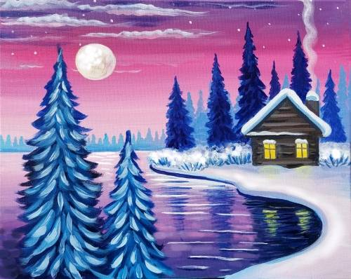 A Cozy Winter Cabin paint nite project by Yaymaker