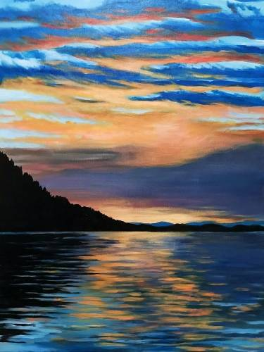 A Coastal Inlet Sunset paint nite project by Yaymaker