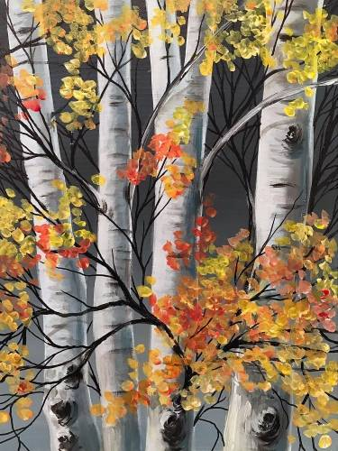 A Birch Tree Autumn paint nite project by Yaymaker