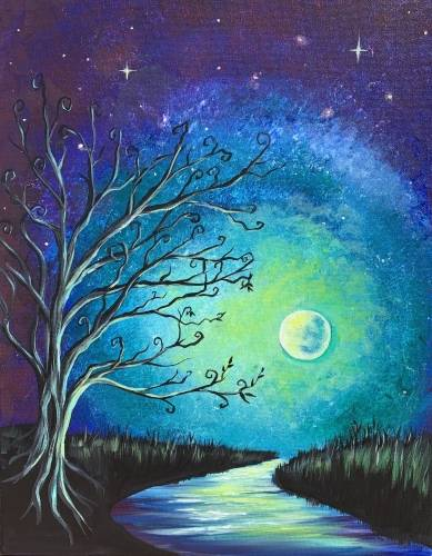 A Mystical Moonlit Glow paint nite project by Yaymaker