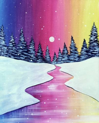 A Colorful Winter paint nite project by Yaymaker