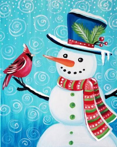 A Snowman and Cardinal paint nite project by Yaymaker