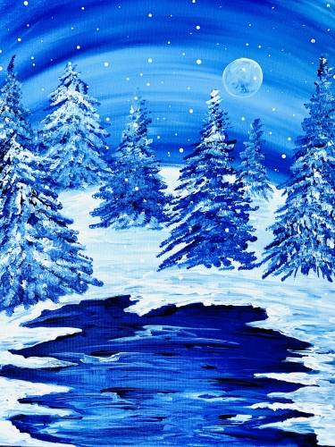 A Snowy Winters Night paint nite project by Yaymaker