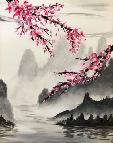 A Pink Cherry Blossoms paint nite project by Yaymaker