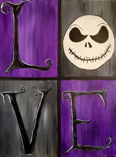 A Skeletons Love Halloween paint nite project by Yaymaker