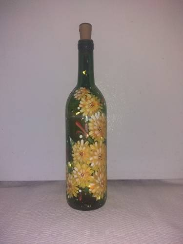 A Mums the Word Wine Bottle with Fairy Lights paint nite project by Yaymaker