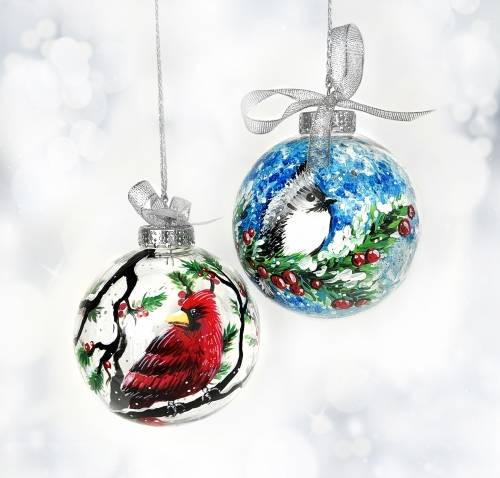 A Set of 2 Large Christmas Ornaments  Birds paint nite project by Yaymaker