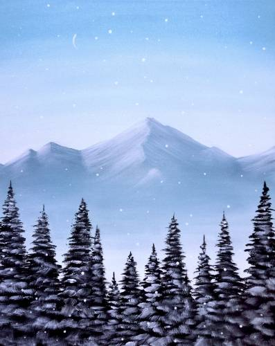 A Snowy Mountain Pines paint nite project by Yaymaker
