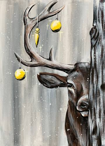 A Christmas Winter Stag paint nite project by Yaymaker