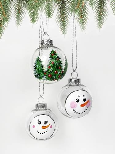 A Set of 3 Christmas Ornaments  2 Snowmen Faces and Tree paint nite project by Yaymaker