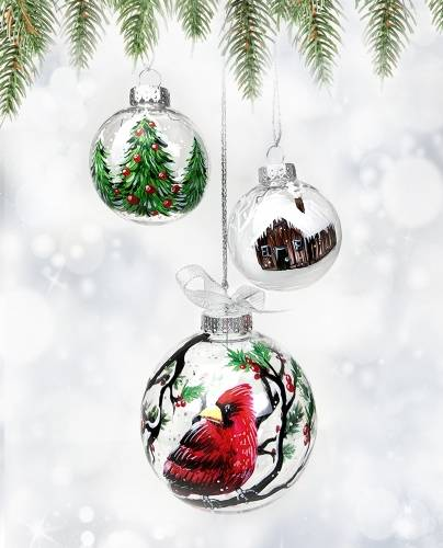 A Set of 3 Christmas Ornaments  1 Big Bird Small Tree Small House paint nite project by Yaymaker