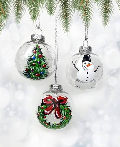 A Set of 3 Christmas Ornaments  Snowman Wreath Tree paint nite project by Yaymaker
