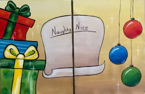 A Naughty or Nice Partner Painting paint nite project by Yaymaker
