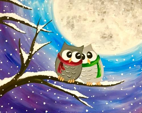 A Winter Owls in Snow paint nite project by Yaymaker