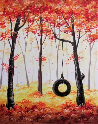 A Secret Autumn Swing paint nite project by Yaymaker