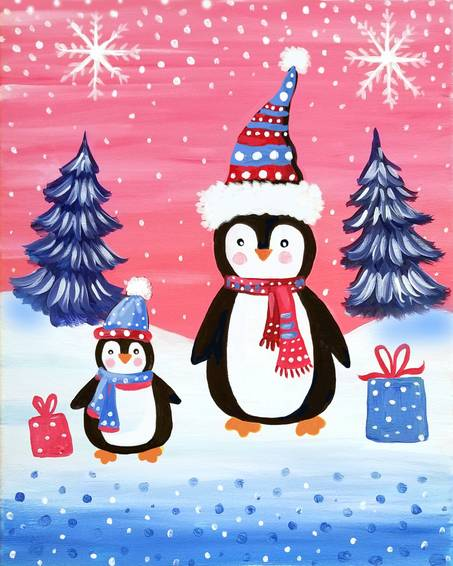A Happy Christmas Penguins paint nite project by Yaymaker