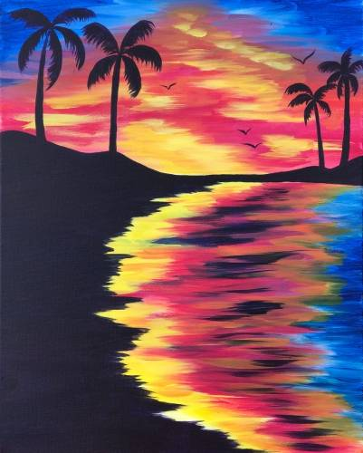 A Tie Dye Sunset paint nite project by Yaymaker