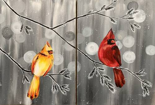 A Cardinal Pair Partner Painting paint nite project by Yaymaker