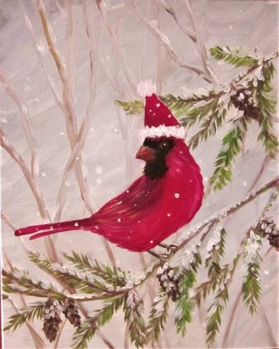 A Cheery Cardinal paint nite project by Yaymaker