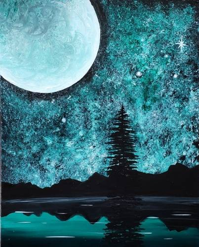 A Moon Over Mt Lake paint nite project by Yaymaker
