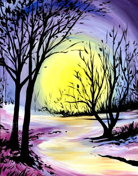 A Glowing Winter paint nite project by Yaymaker