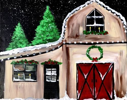A Country Christmas Tree Farm paint nite project by Yaymaker