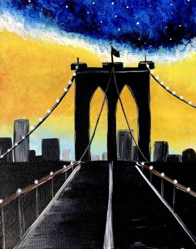A Brooklyn Bridge II paint nite project by Yaymaker