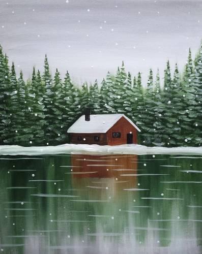 A Snowy Cabin II paint nite project by Yaymaker