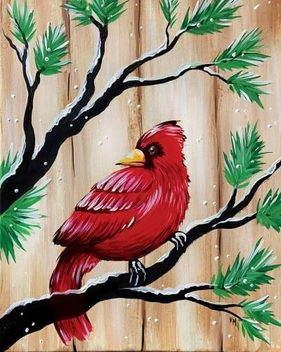 A Barn Board Cardinal paint nite project by Yaymaker