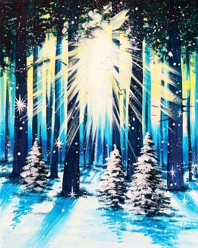 A Winter Forest Glow paint nite project by Yaymaker