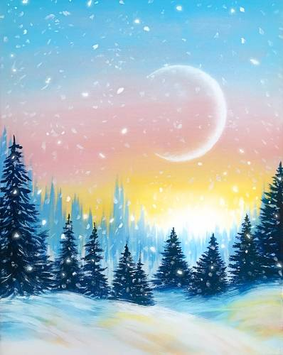 A Snowy Sparkle Sunset paint nite project by Yaymaker
