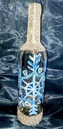 A Snowflake Wine Bottle paint nite project by Yaymaker