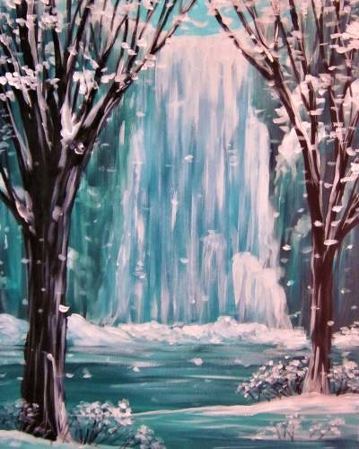A Snowy Frozen Falls paint nite project by Yaymaker