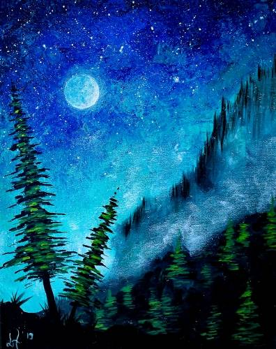 A Moonlit Pine Tree paint nite project by Yaymaker