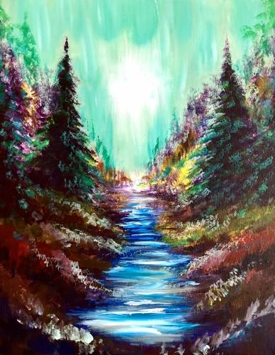 A Dark Forest Stream paint nite project by Yaymaker
