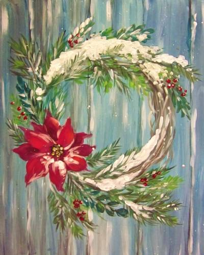 A Snowy Winter Wreath paint nite project by Yaymaker