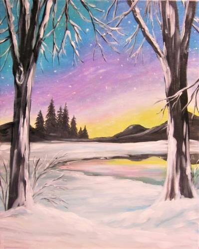 A Serene Winter Snowfall paint nite project by Yaymaker