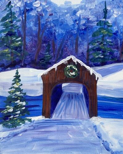 A Covered Bridge in the Snow paint nite project by Yaymaker