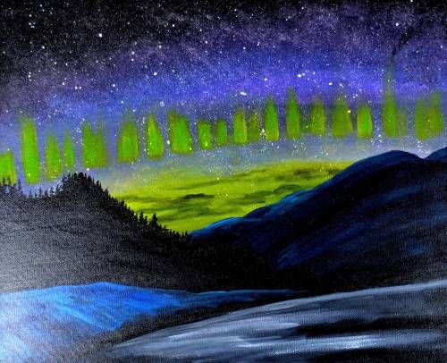 A Aurora Mountains II paint nite project by Yaymaker