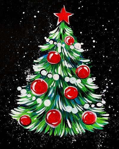 A Fun and Easy Christmas Tree paint nite project by Yaymaker