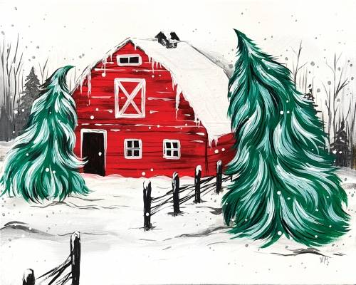 A Red Winter Barn paint nite project by Yaymaker